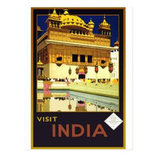 Carte Postale Art vintage d'affiche de voyage de l'Inde de