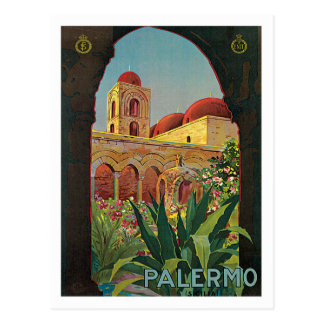 Carte Postale Art vintage d'affiche de voyage de Palerme Sicilia