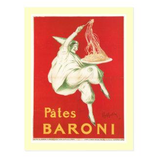 Carte Postale Art vintage d'annonce de nourriture de Baroni de
