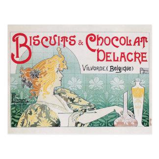 Carte Postale Art vintage d'annonce de nourriture de chocolat de