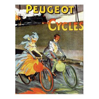 Carte Postale Art vintage de bicyclette de Peugeot de cycles
