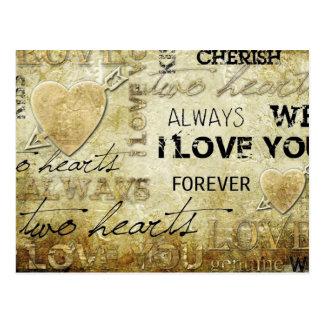 Carte Postale art vintage de coeur d'amour