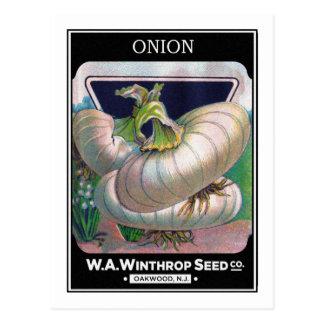 Carte Postale Art vintage de légume de paquet de graine d'oignon