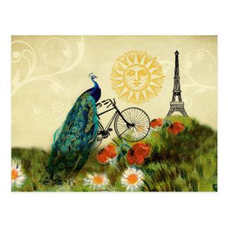 Carte Postale Art vintage de paon avec Tour Eiffel