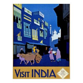 Carte Postale Art vintage de voyage de l'Inde de visite
