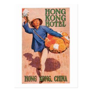 Carte Postale Art vintage d'étiquette d'hôtel de Hong Kong Chine