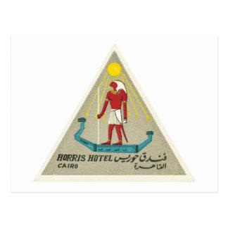 Carte Postale Art vintage d'étiquette d'hôtel du Caire Egypte de