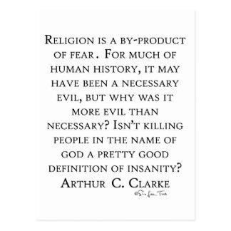 Carte Postale Arthur C Clarke sur la religion