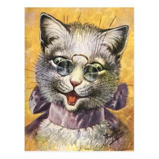 Carte Postale Arthur Thiele - chat femelle avec des verres
