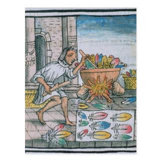 Carte Postale Artisans aztèques teignant des plumes