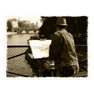 Carte Postale Artiste AT the sa plus river à Paris, France
