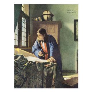 Carte Postale Artiste néerlandais Vermeer peignant le géographe