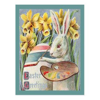 Carte Postale Artiste vintage de lapin de Pâques