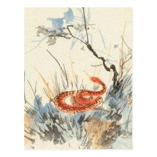 Carte postale asiatique de cru de serpent