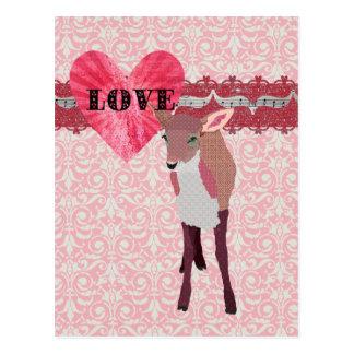 Carte postale assez rose de damassé d'amour de