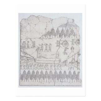 Carte Postale Assyriens déplaçant un Taureau à ailes sur un