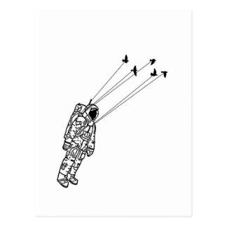 Carte Postale Astronaute emporté par des oiseaux