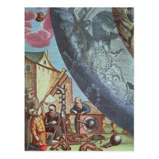 Carte Postale Astronomes regardant par un télescope