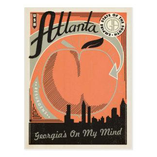 Carte Postale Atlanta, GA - la Géorgie sur mon esprit