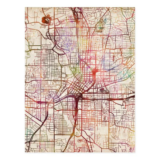 Carte Postale atlanta map painting