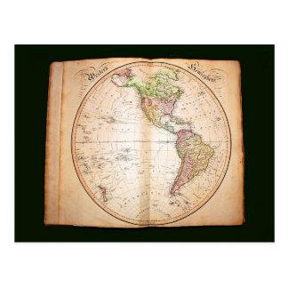 Carte Postale Atlas vintage montrant l'hémisphère de l'ouest
