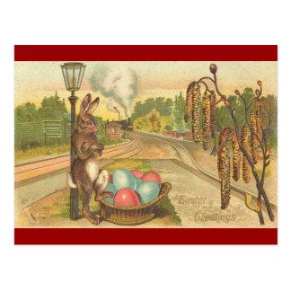 Carte Postale Attente sur un train Pâques