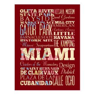 Carte Postale Attractions et endroits célèbres de Miami, la