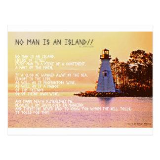 Carte Postale Aucun homme n'est une île, par John Dunne.