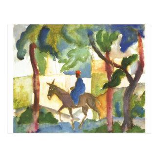 Carte Postale August Macke - cavalier d'âne Eselreiter 1914