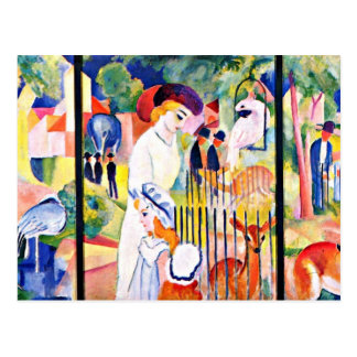 Carte Postale August Macke - grand zoo, peinture d'August Macke