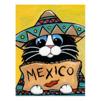 Carte Postale Auto-stoppeur mexicain de chat de smoking