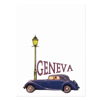 Carte Postale automobile vintage des années 1920 - Genève