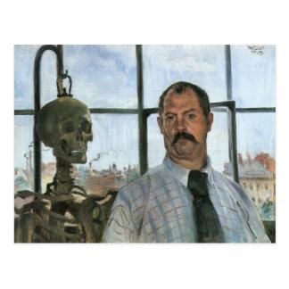 Carte Postale Autoportrait avec le squelette par Lovis Corinthe