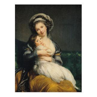 Carte Postale Autoportrait dans un turban avec son enfant, 1786