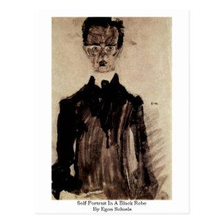 Carte Postale Autoportrait dans une robe longue noire par Egon