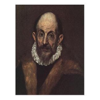 Carte Postale Autoportrait d'El Greco de description sommaire, D