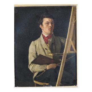 Carte Postale Autoportrait, se reposant à côté d'un chevalet,