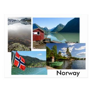 Carte postale avec de divers paysages en Norvège