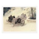 Carte postale avec des courses d'automobiles vinta