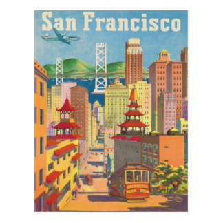 Carte postale avec l affiche vintage de San Franci