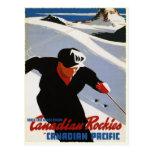 Carte postale avec la copie de ski des Rocheuses d