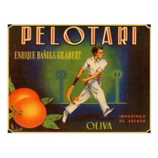 Carte postale avec la copie espagnole d'étiquette
