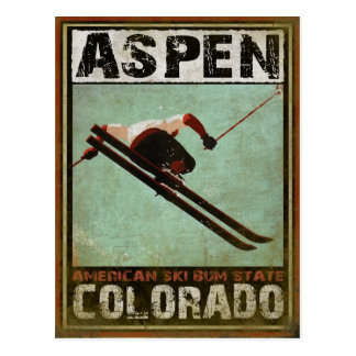 Carte postale avec la copie fraîche de ski d'Aspen