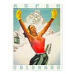 Carte postale avec la copie vintage de ski d'Aspen