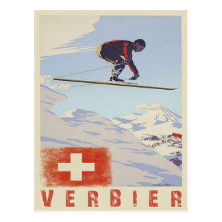 Carte postale avec la copie vintage de ski de la