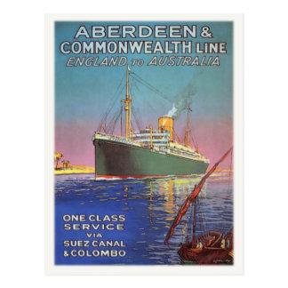 Carte postale avec la ligne maritime vintage copie