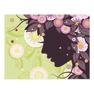 Carte postale avec la silhouette et les fleurs de