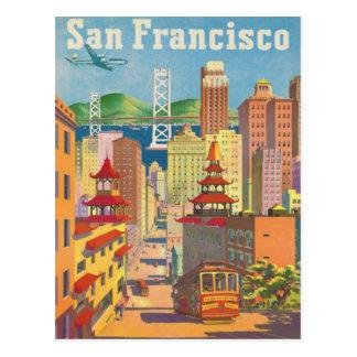 Carte postale avec l'affiche vintage de San Franci