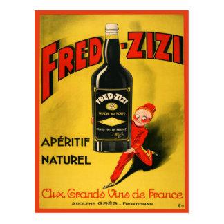 Carte postale avec l'affiche vintage de vin