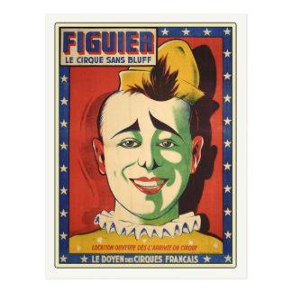 Carte postale avec le clown de cirque vintage